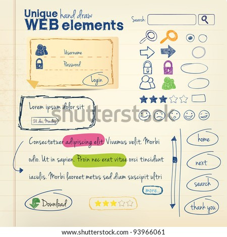 Hand draw vector elements - stock vector