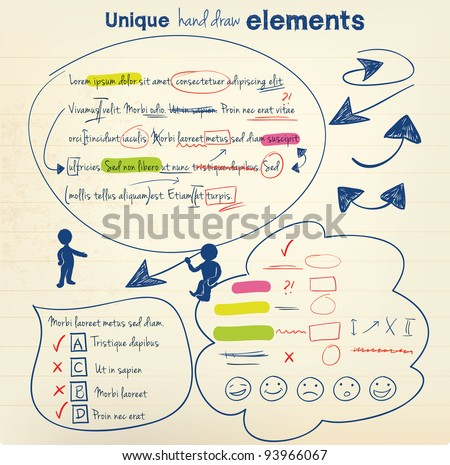 Hand draw vector elements