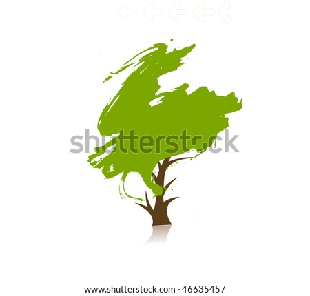 hand draw vector green tree on eco background, vector illustration - stock vector
