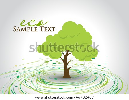 hand draw vector green tree on eco background with space of text, vector illustration - stock vector