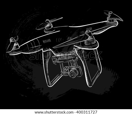 Hand Draw Vector Illustration Aerial Vehicle Quadrocopter Air Drone Hovering Sketch