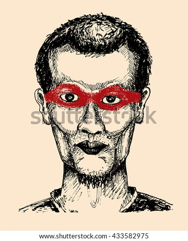 hand draw vector illustration of young man wearing red mask on eyes - stock vector