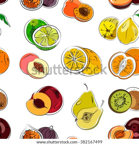 Hand draw vector pattern of fresh healthy fruits.  - stock vector