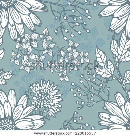 Hand draw  vintage botanical seamless pattern.  All objects are conveniently grouped  and are easily editable. - stock vector