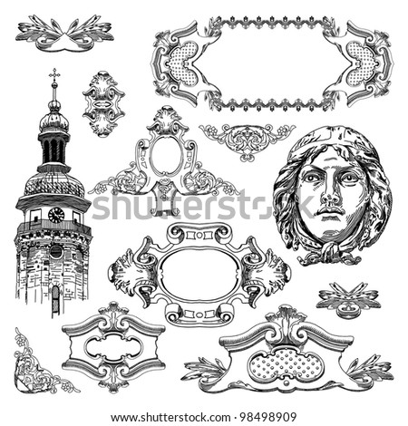 hand draw vintage sketch ornamental design element of Lviv historical building, Ukraine.  Vector set: calligraphic design elements and page decoration - stock vector