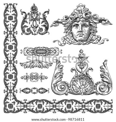 hand draw vintage sketch ornamental design element of Lviv historical building, Ukraine.  Vector set: calligraphic design elements and page decoration - stock vector