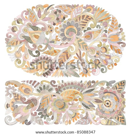 hand draw watercolor flower vector ethnic design. Ukrainian traditional painting - stock vector