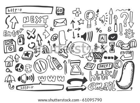 hand draw web icon,vector - stock vector