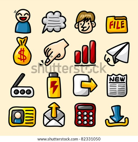 hand draw web icons collection - stock vector