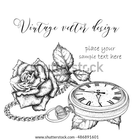 A Pocket Watch On Chain And Flowers Vector Illustration