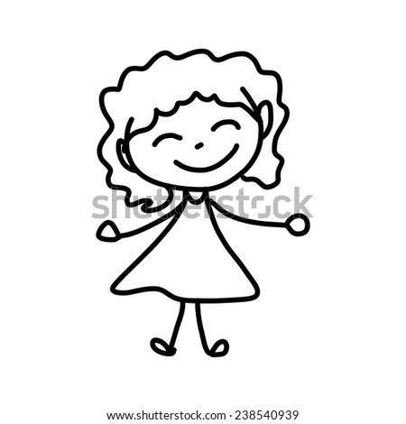 hand drawing abstract cartoon character happy kids - stock vector