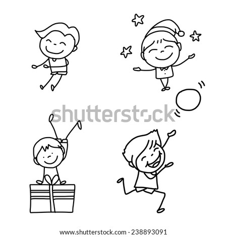 hand drawing abstract cartoon character happy kids playing
