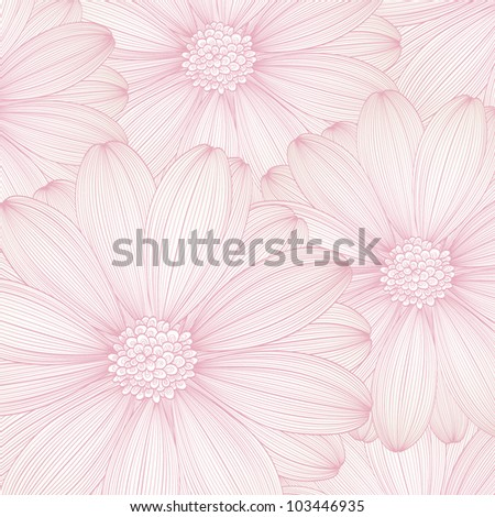 Hand-drawing abstract floral background. Vector flower chamomile. Element for design. - stock vector