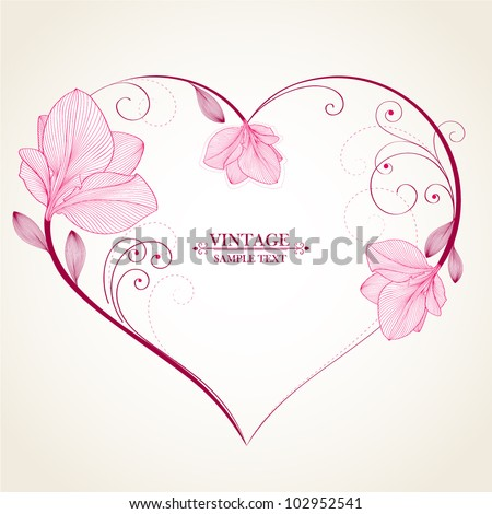 Hand-drawing abstract floral background. Vector heart with flower petals. Element for design. - stock vector