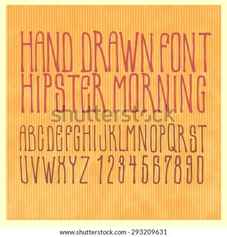 Hand drawing alphabet Hipster Morning. vector illustration. - stock vector