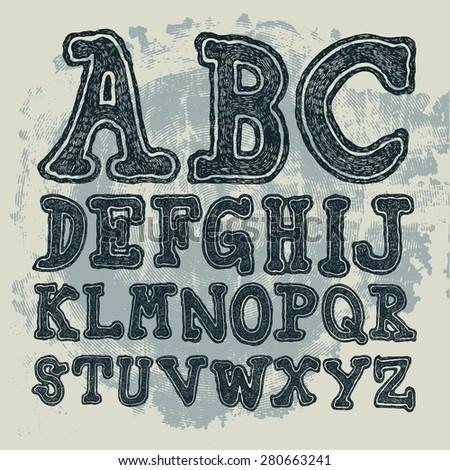 Hand drawing alphabet. Vector - stock vector
