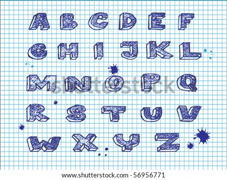 Hand drawing alphabet-vector - stock vector