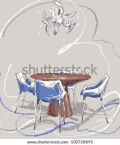 Hand drawing an interior dining room - stock vector