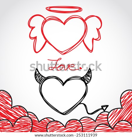 Hand Drawing Angel and Devil Hearts, Valentines Day Card, Vector Illustration EPS 10. - stock vector