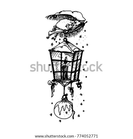 Hand Drawing Artistic Doodle Icon Christmas Lantern New Year Vintage Design For Card