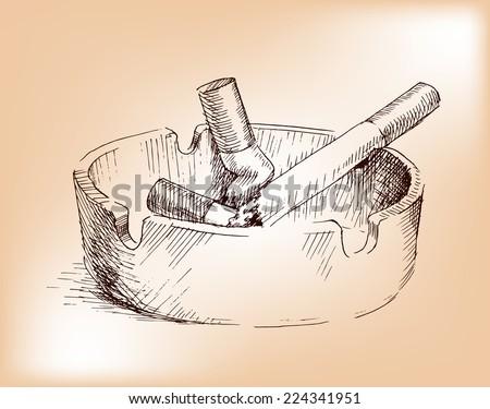 hand drawing  ashtray, nicotine smoke - stock vector