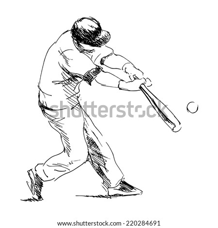 Hand drawing baseball. Vector illustration