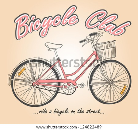 Hand Drawing Bicycle - stock vector