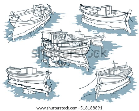Greek boat stock images royalty free images vectors for How to draw a fishing boat