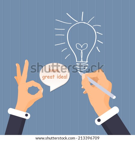 Hand Drawing Bulb Creative Ideas Business Vector Illustration - stock vector
