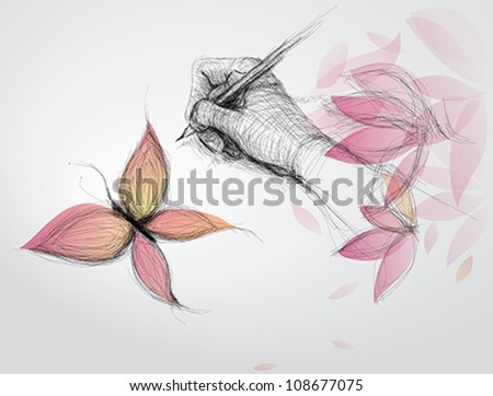 Hand drawing butterfly / Realistic surreal sketch - stock vector