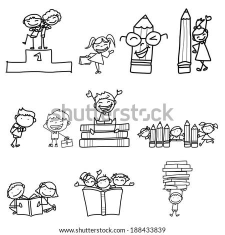 hand drawing cartoon back to school - stock vector