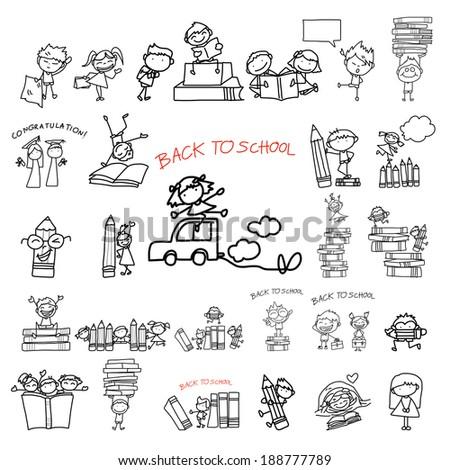 hand drawing cartoon back to school - stock vector