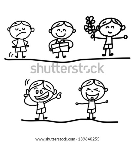 hand drawing cartoon character emotion boys - stock vector
