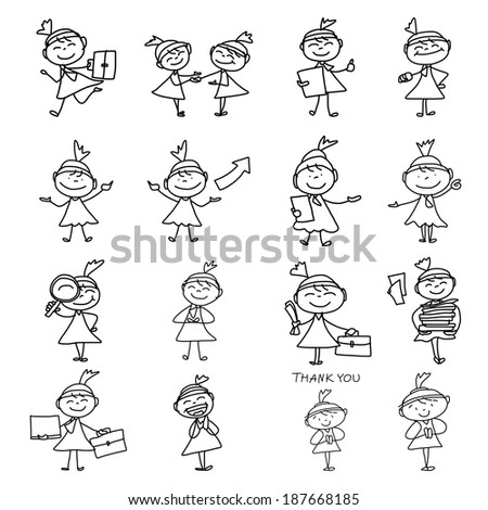 hand drawing cartoon character happy business woman - stock vector