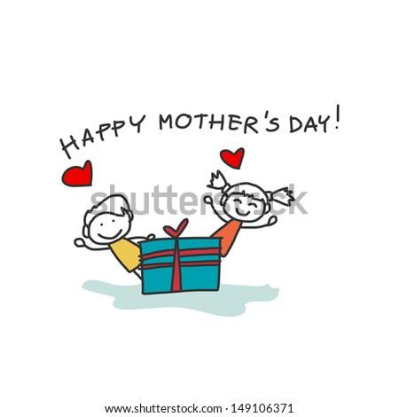 hand drawing cartoon character happy family - stock vector