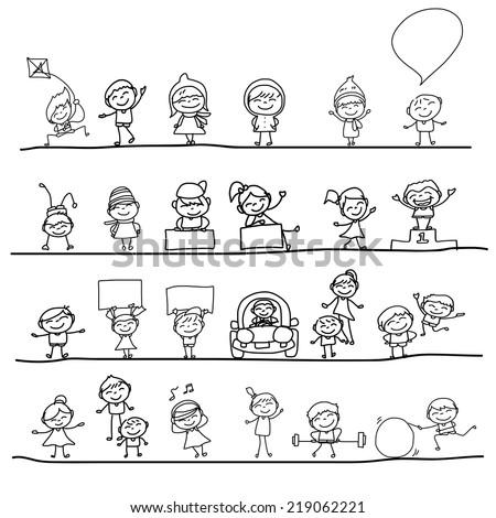 hand drawing cartoon character happy kids - stock vector