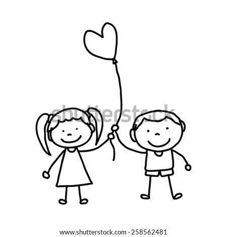 hand drawing cartoon character happy kids illustration