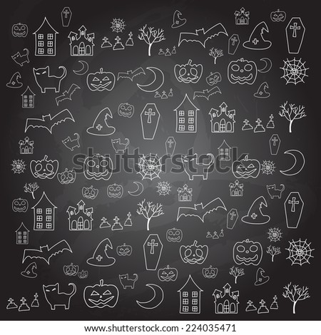 hand drawing cartoon halloween doodle element - stock vector