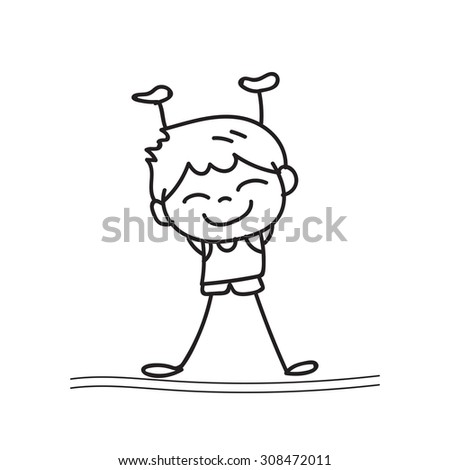 hand drawing cartoon happy boy playing vector design