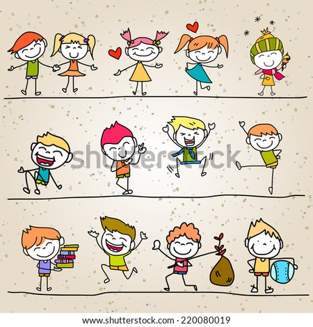 hand drawing cartoon happy kids - stock vector