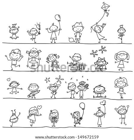 hand drawing cartoon happy kids playing  - stock vector