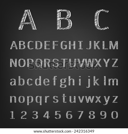 Hand drawing chalk alphabet - stock vector