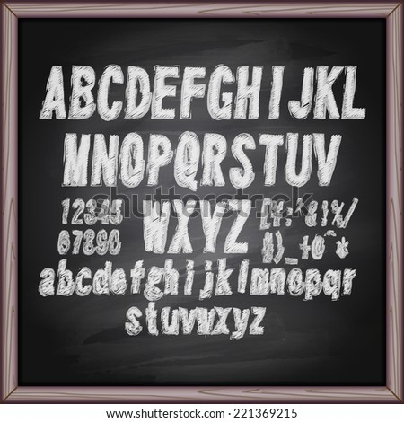 Hand drawing chalk font on blackboard. Eps10. - stock vector