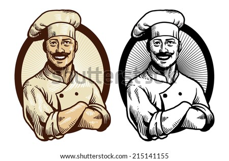 hand drawing chef with crossed arm pose - stock vector