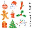 Hand drawing christmas decorations. Santa, snowman, cookie and other. - stock vector
