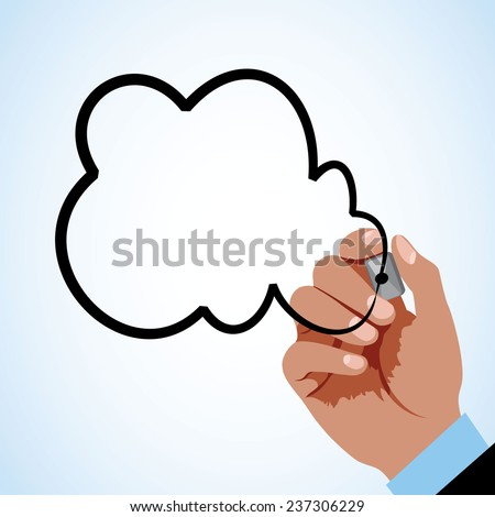 Hand drawing cloud - stock vector