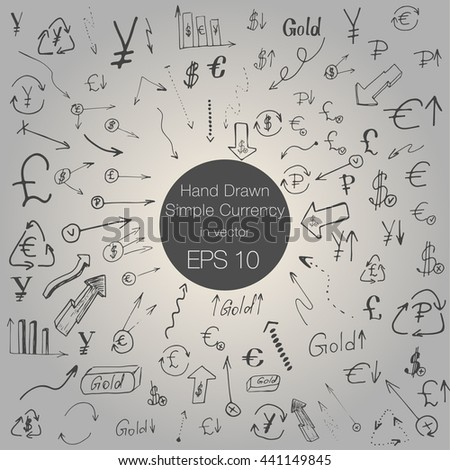 Hand drawing Currency Business Money Icons Doodles Vector - stock vector