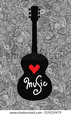 Hand drawing Doodle acoustic guitar,Flat Design.Vector illustration - stock vector