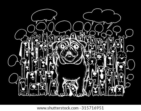 Hand drawing Doodle cute dogs group and speaking bubble,Vector Illustration - stock vector