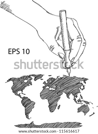 Hand drawing earth globe world map stock vector 115616617 shutterstock hand drawing earth globe with world map detail vector line sketch up illustrator eps 10 gumiabroncs